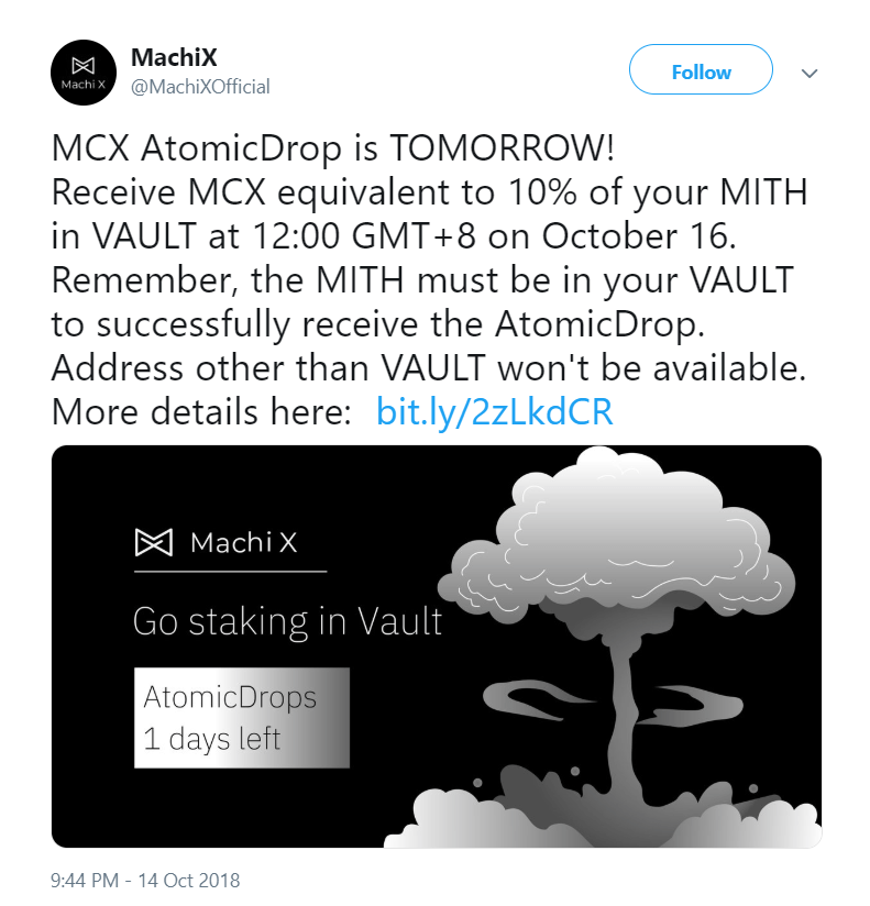 mcx-mith-atomic-drops-tweet Mithril and Machi X AtomicDrops Announced