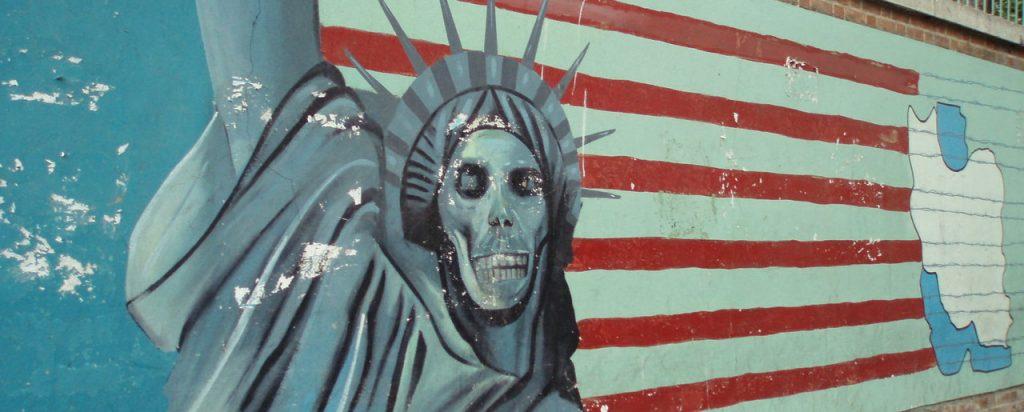 Anti US graffiti art. Former US Embassy in Tehran, Iran