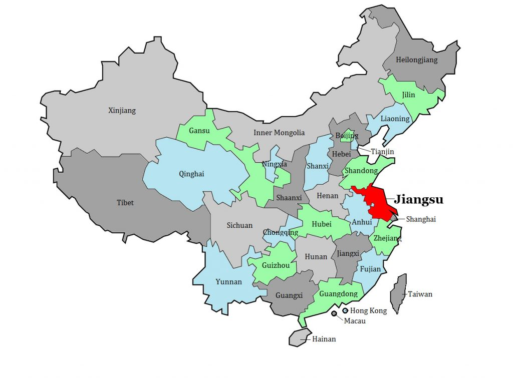 Jiangsu province on China's map